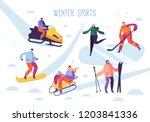 winter sport activities with... | Shutterstock .eps vector #1203841336