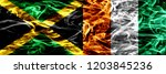 jamaica vs ivory coast smoke... | Shutterstock . vector #1203845236