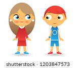 girl boy cartoon character... | Shutterstock . vector #1203847573