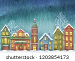 winter illustration with houses ... | Shutterstock . vector #1203854173