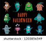 cute cartoon monsters on a...   Shutterstock .eps vector #1203856549