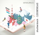 virtual reality concept in 3d... | Shutterstock .eps vector #1203858163