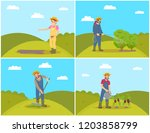 people planting and cultivating ... | Shutterstock .eps vector #1203858799