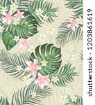 seamless hand drawn exotic... | Shutterstock .eps vector #1203861619