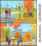 cafe with tables and customers  ... | Shutterstock .eps vector #1203862030
