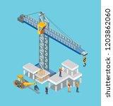 construction building machines... | Shutterstock .eps vector #1203862060