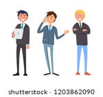 businessman talking on phone ... | Shutterstock .eps vector #1203862090