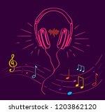 headphones performing loud... | Shutterstock .eps vector #1203862120