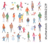 winter and autumn warm clothes  ... | Shutterstock .eps vector #1203862129
