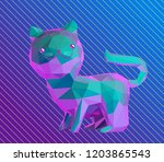 Cute Vaporwave Kitten Isolated...