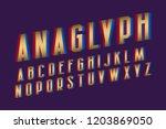 anaglyph alphabet. golden cyan... | Shutterstock .eps vector #1203869050