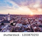aerial view of sunset above... | Shutterstock . vector #1203870253