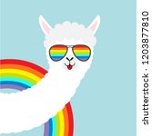 alpaca llama animal face in... | Shutterstock .eps vector #1203877810