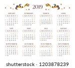 vector calendar for 2019 on...   Shutterstock .eps vector #1203878239