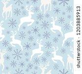 vector sky blue reindeer... | Shutterstock .eps vector #1203885913