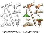 set billiard. hand holding... | Shutterstock .eps vector #1203909463