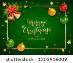 green christmas card with... | Shutterstock .eps vector #1203916009