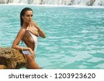 sexy woman in white swimsuit is ...   Shutterstock . vector #1203923620