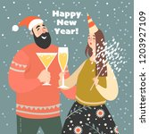 new year greeting card. girl... | Shutterstock .eps vector #1203927109