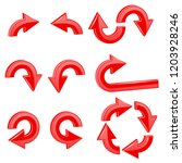 red round curved arrows.... | Shutterstock . vector #1203928246