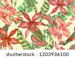 floral seamless tropical... | Shutterstock . vector #1203936100