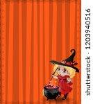 halloween template with little... | Shutterstock .eps vector #1203940516