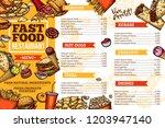 fast food vector menu of... | Shutterstock .eps vector #1203947140