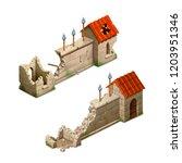 bright cartoon gothic stockade  ... | Shutterstock .eps vector #1203951346