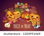 halloween holiday  pumpkin and... | Shutterstock .eps vector #1203951469