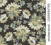seamless textile floral pattern | Shutterstock .eps vector #1203954793