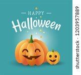 happy halloween greeting card... | Shutterstock .eps vector #1203957889