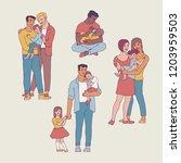 gay family vector illustration... | Shutterstock .eps vector #1203959503