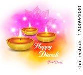 happy diwali   traditional... | Shutterstock .eps vector #1203964030