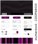 dark pink vector ui ux kit with ...