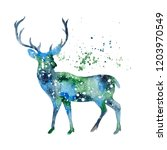 Stock photo watercolor deer silhouette deer illustration for christmas posters greeting cards prints winter 1203970549