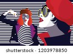 fashion woman in style pop art. ... | Shutterstock .eps vector #1203978850