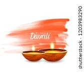 diwali greeting card with... | Shutterstock .eps vector #1203983290