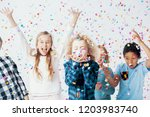 happy girls and boys having fun ... | Shutterstock . vector #1203983740