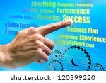 Close up of female hand pointing at business concepts in futuristic interface. - stock photo