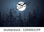 happy halloween party  flying... | Shutterstock .eps vector #1204002199