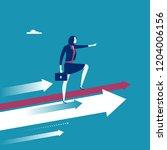 female leader stands on arrows... | Shutterstock .eps vector #1204006156
