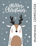 merry christmas print. hand... | Shutterstock .eps vector #1204011526