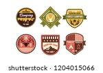 wilderness camping retro logo... | Shutterstock .eps vector #1204015066