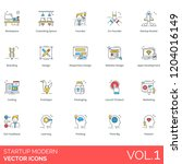 startup icons including... | Shutterstock .eps vector #1204016149