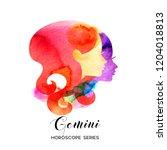 gemini zodiac sign. beautiful... | Shutterstock .eps vector #1204018813