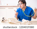 funny doctor with skeleton in...   Shutterstock . vector #1204019380
