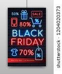 black friday illuminated neon...   Shutterstock .eps vector #1204020373