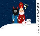 cute st. nicholas with devil ... | Shutterstock .eps vector #1204033759