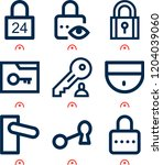 simple set of  9 outline icons... | Shutterstock .eps vector #1204039060