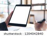 mockup image of hands holding... | Shutterstock . vector #1204042840
